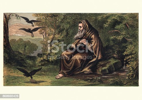 Vintage engraving of Hermit and the crows, 19th Century