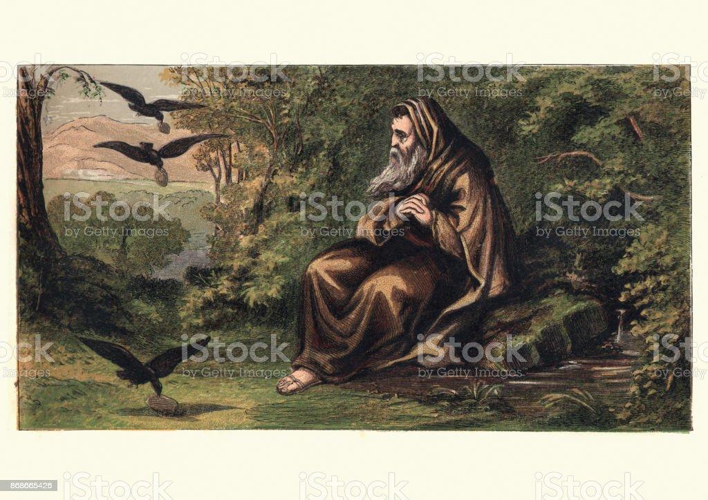 Ermitaño y los cuervos - ilustración de arte vectorial