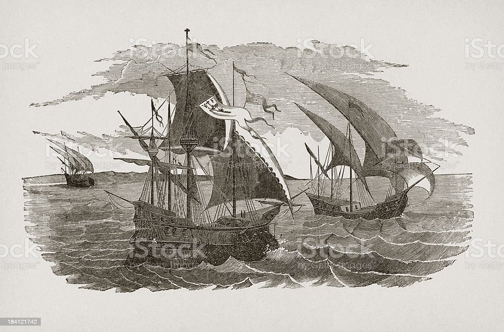 Hernán Cortés fleet sailing to Mexico vector art illustration