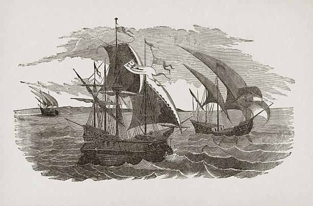 Hernán Cortés fleet sailing to Mexico vector art illustration