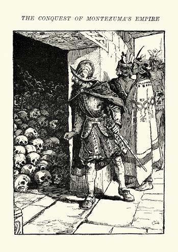 Hernan Cortes finding the skulls of sacrificial victims