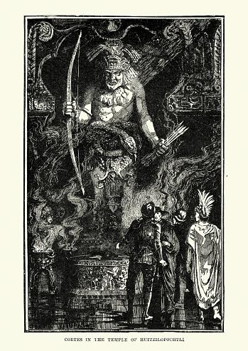 Hernan Cortes in the Temple of Huitzilopochtli