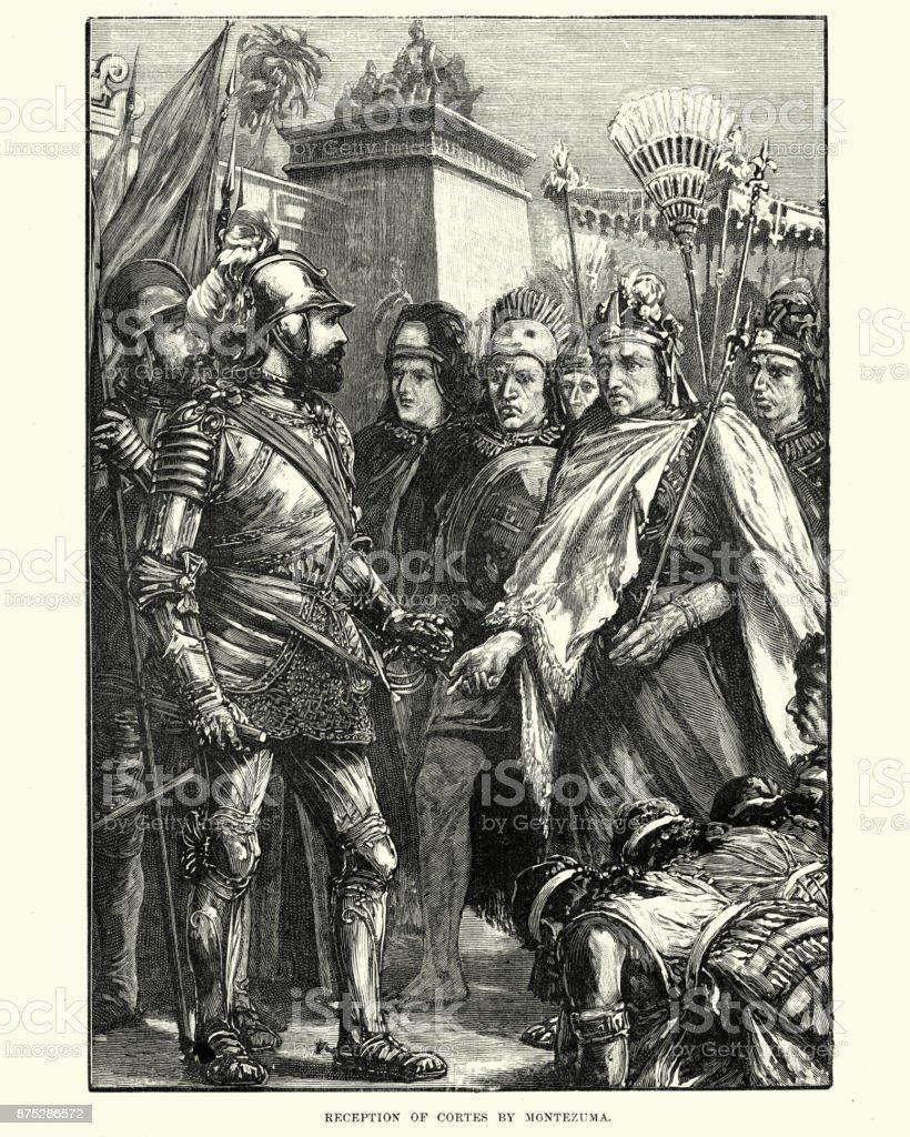 Hernan Cortes, Spanish Conquistador meeting Moctezuma II Aztec Emperor vector art illustration