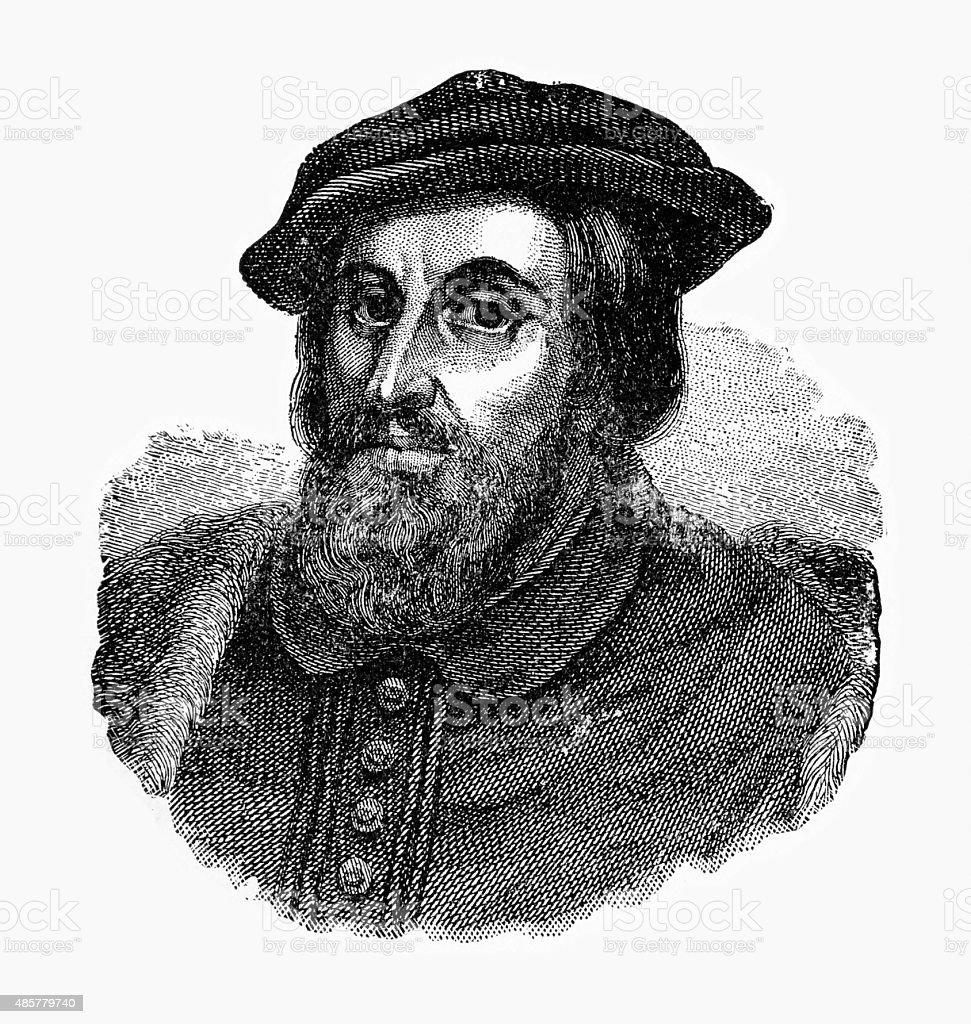 Hernando Cortes, 1485-1547, Engraving vector art illustration