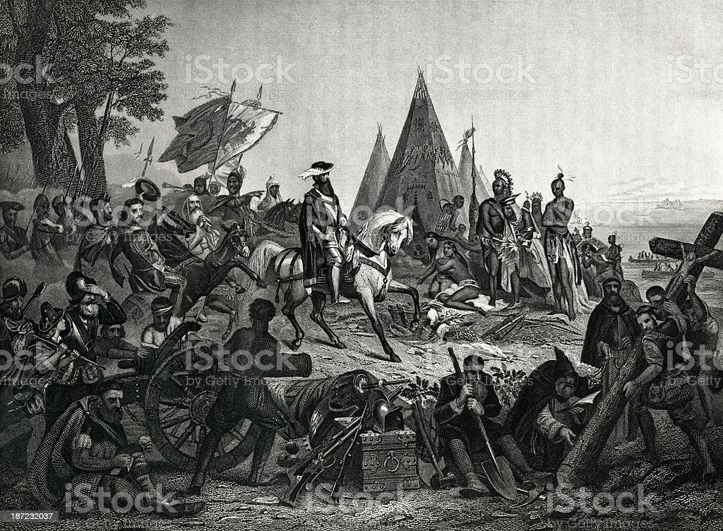 Hernando De Soto's Discovery Of The Mississippi vector art illustration