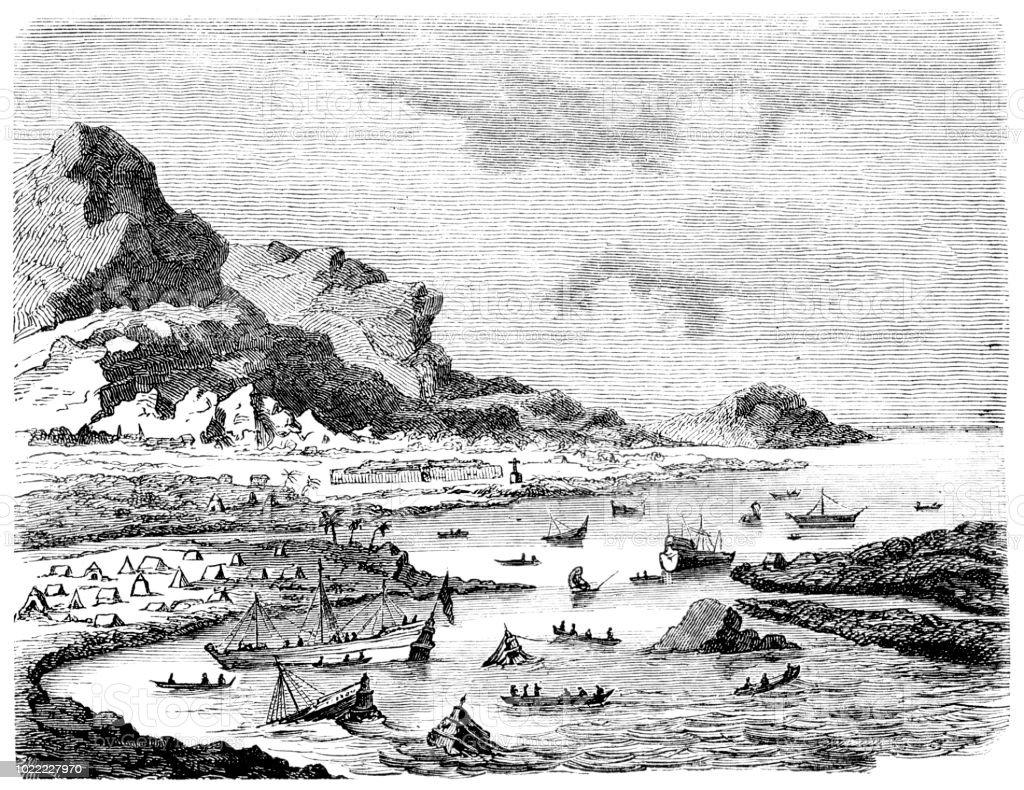 Hernán Cortés scuttling own fleet at Veracruz Mexico 1519 vector art illustration