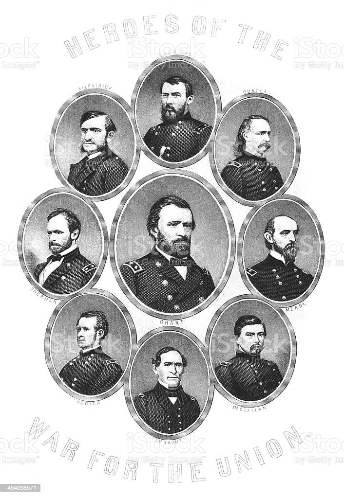 Heroes of the American Civil War - Antique Engraving royalty-free heroes of the american civil war antique engraving stock vector art & more images of american civil war