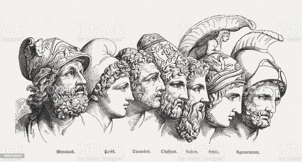 Heroes of the Trojan War, Greek mythology, published in 1880 vector art illustration