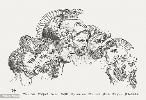 The heroes of Trojan War, Greek mythology. Wood engraving, published in 1880.
