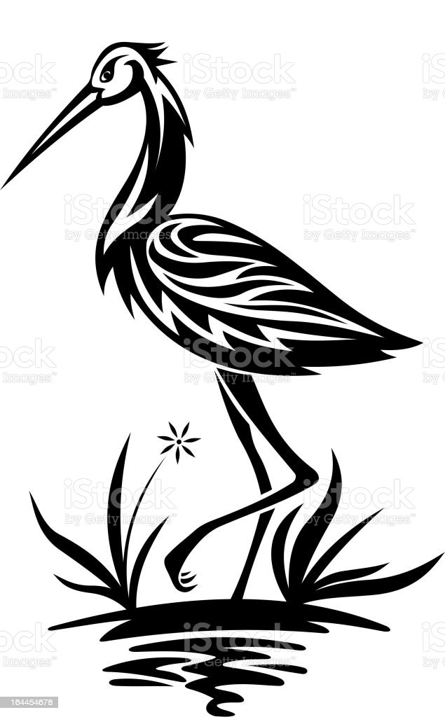 Heron on the pond and cane royalty-free heron on the pond and cane stock vector art & more images of animal