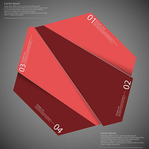 Hexagon randomly cut to four parts on dark vector art illustration