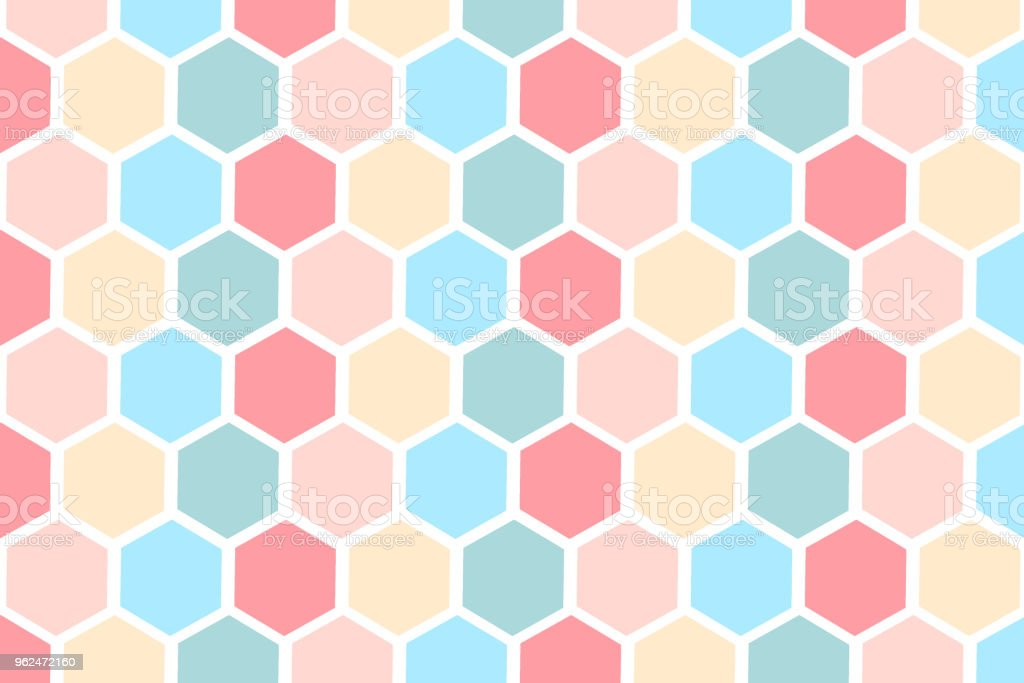 Hexagonal pattern with pastel colour on white background vector art illustration