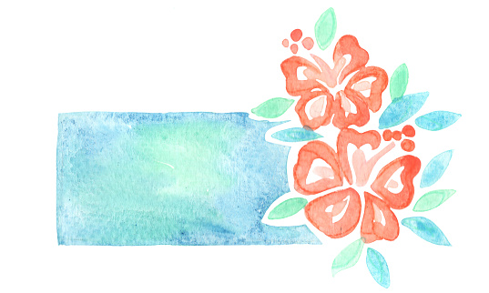 Hibiscus flower banner watercolor hand painting for decoration on summer holiday and wedding event.