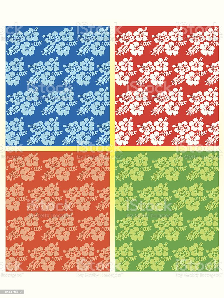 Hibiscus pattern (continuous) royalty-free stock vector art