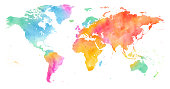 High detailed Multicolor Watercolor World Map.