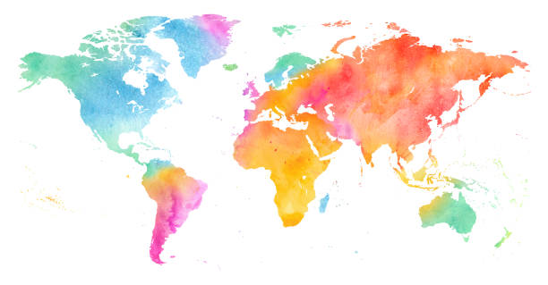 High detailed Multicolor Watercolor World Map. High detailed Multicolor Watercolor World Map Illustration on white Background, Side View. country geographic area stock illustrations