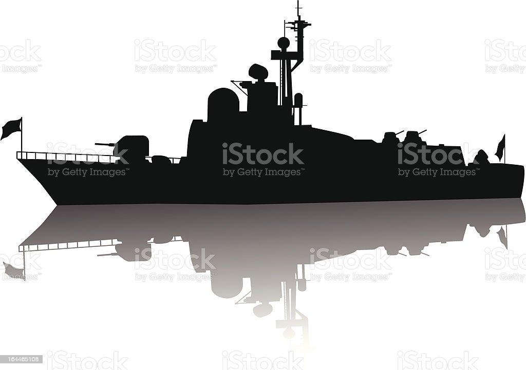 High detailed ship silhouette vector art illustration