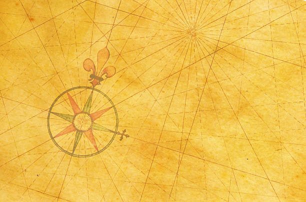 stockillustraties, clipart, cartoons en iconen met high resolution image of an old compass rose off-centered - new world