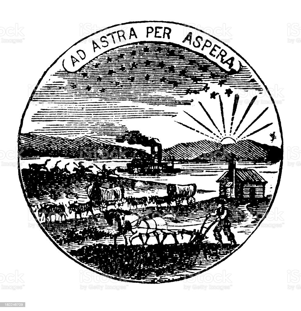 High Resolution Old State Seal of Kansas royalty-free high resolution old state seal of kansas stock vector art & more images of 19th century
