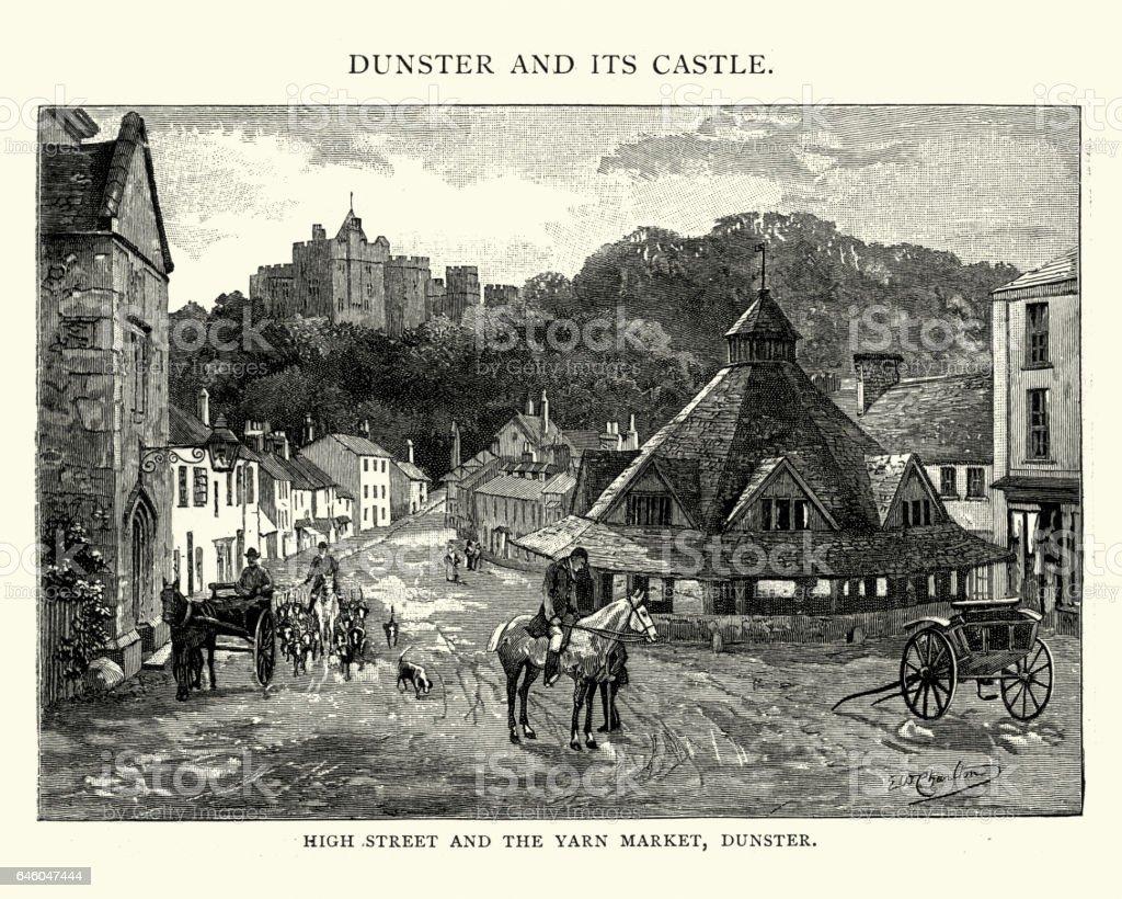 High Street and Yarn Market, Dunster 19th Century vector art illustration