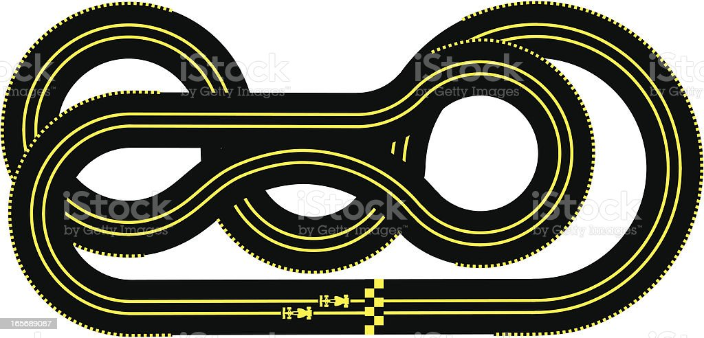 High-angle view of a car race track vector art illustration