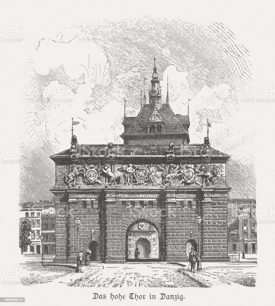 Highland Gate (1588), Gdansk, Poland, wood engraving, published in 1884 vector art illustration