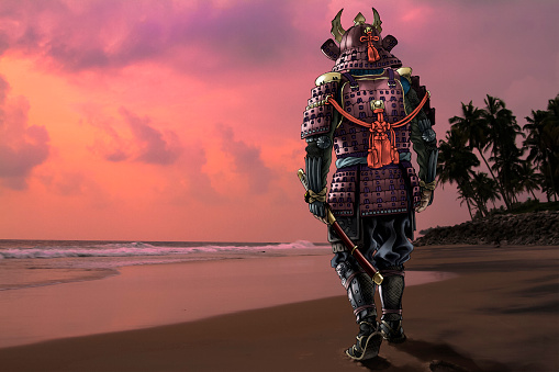 Highly Detailed Illustration of Armored Samurai with a Sword