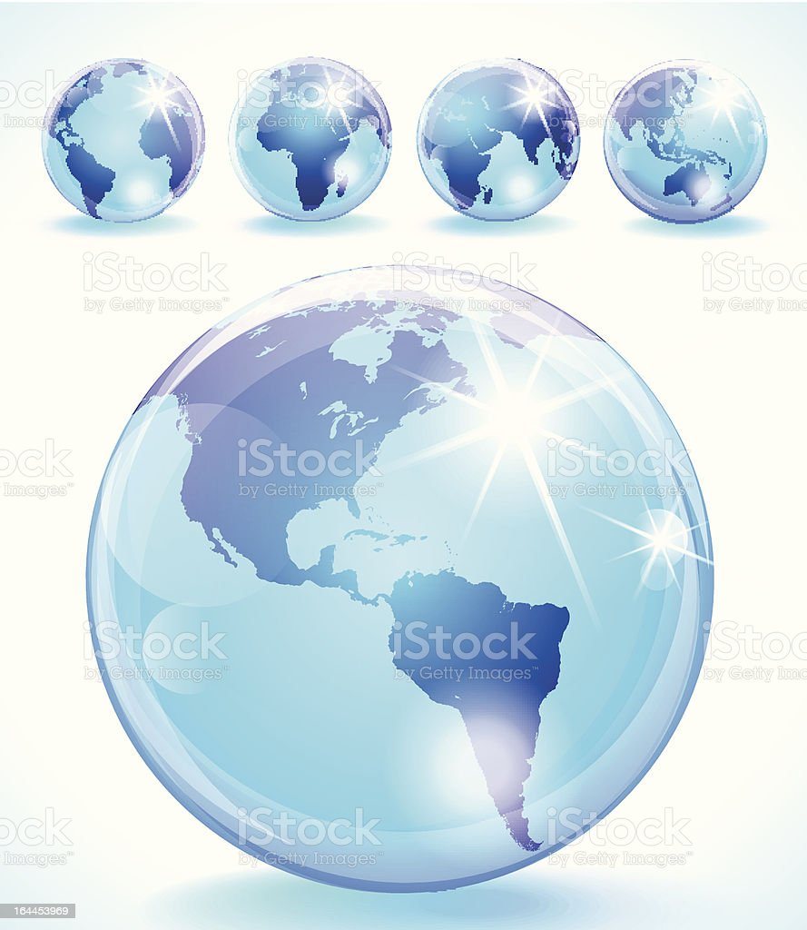 Highly detailed set of 5 glossy vector globes. vector art illustration