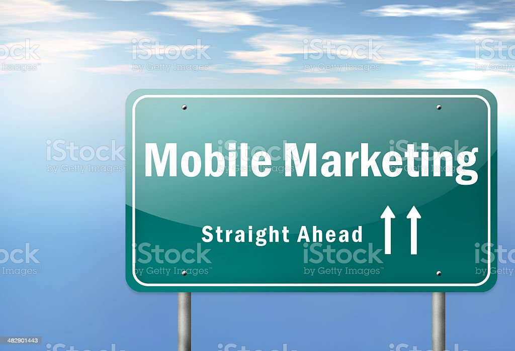 Highway Signpost Mobile Marketing royalty-free highway signpost mobile marketing stock vector art & more images of backgrounds
