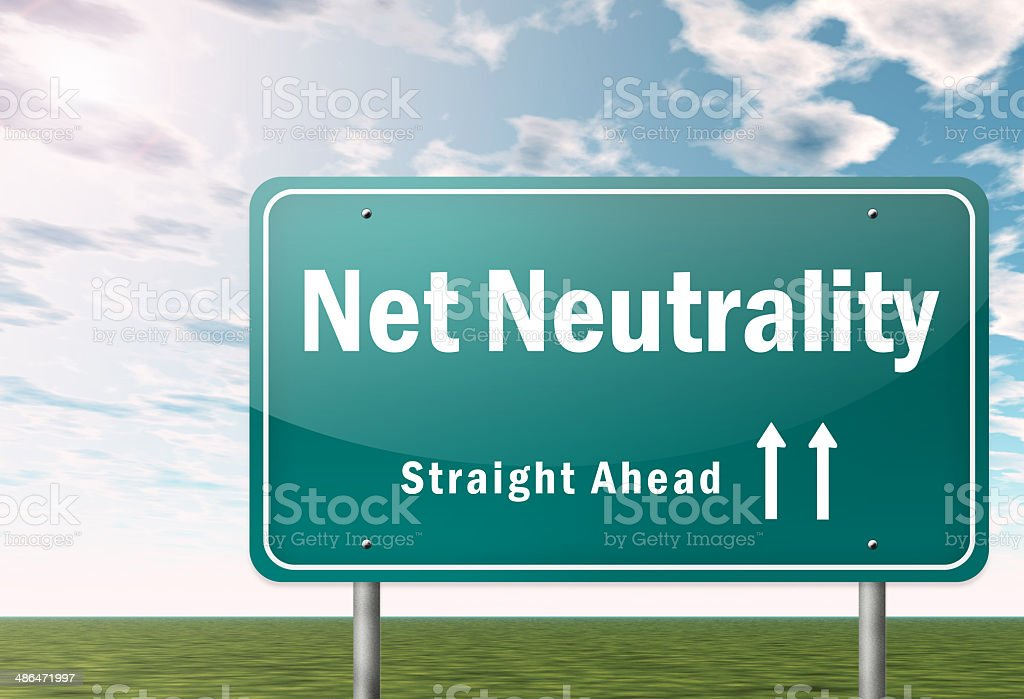 Highway Signpost Net Neutrality royalty-free stock vector art