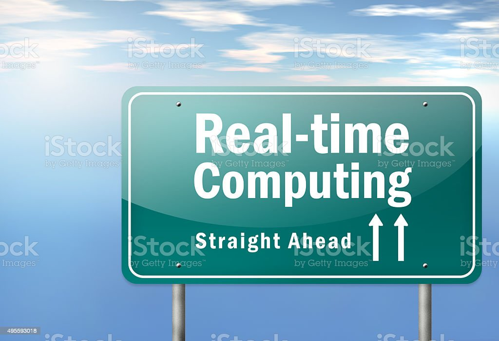 Highway Signpost Real-time Computing vector art illustration
