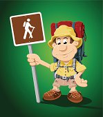 """""""Vector Illustration of a cartoon hiker, who is holding a hiking road sign. The background is on a separate layer, so you can use the illustration on your own background. The colors in the .eps-file are ready for print (CMYK). Included files: EPS (v8) and Hi-Res JPG."""""""