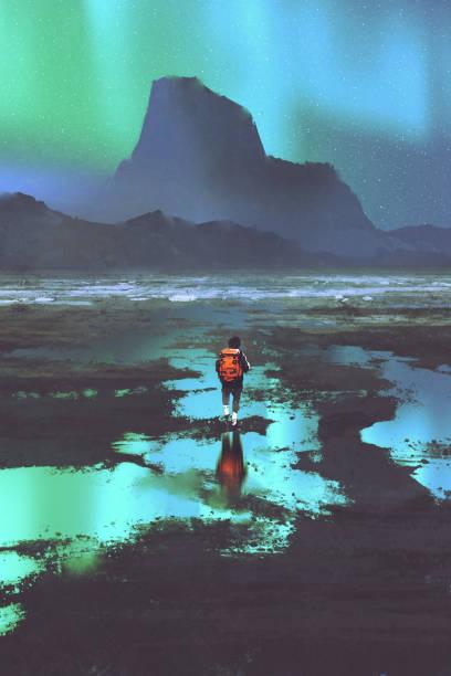 alpinista a olhar para as montanhas e luz colorida no céu - ilustração de arte em vetor