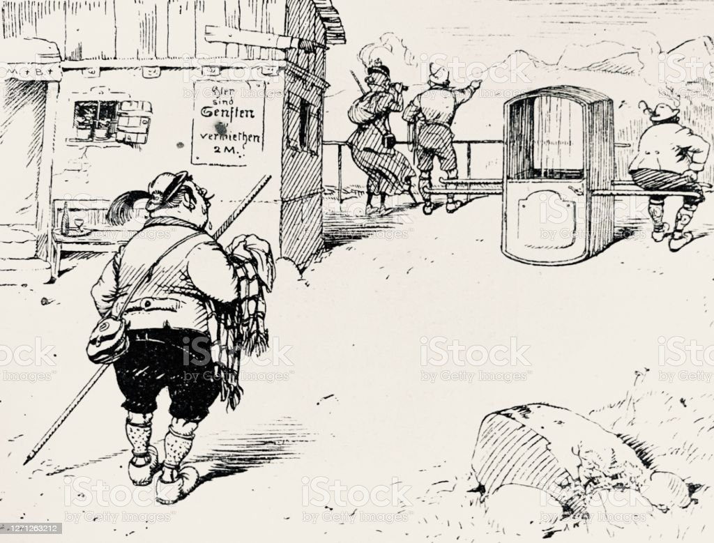 Hiker Looking For A Sedan Chair At The Mountain Station Stock Illustration Download Image Now Istock