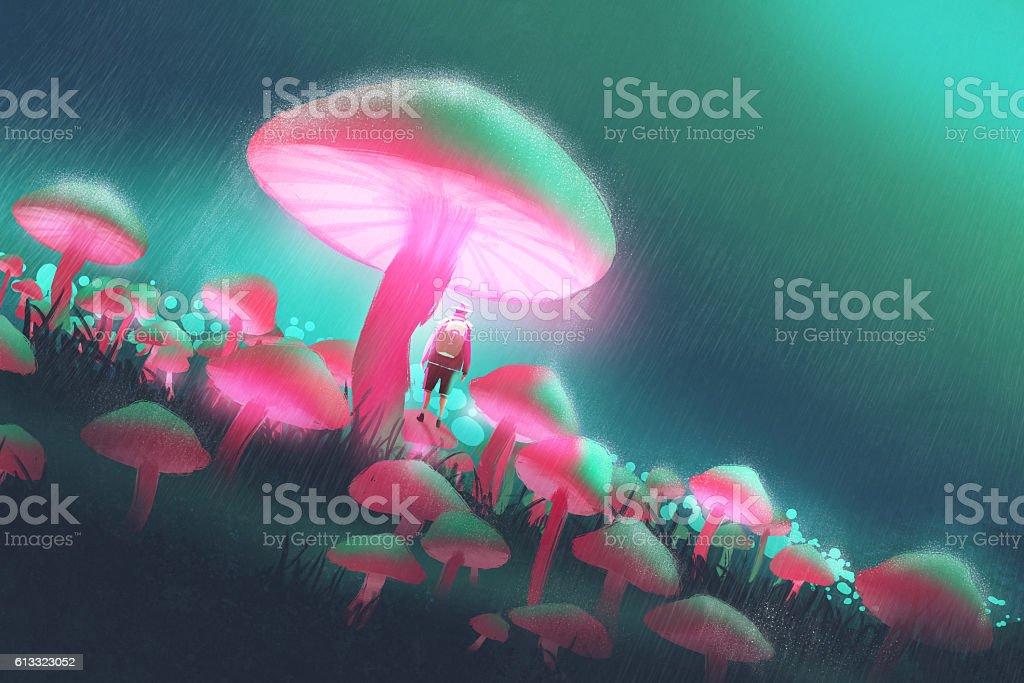 hiker man in the big mushrooms forest vector art illustration