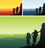 Illustration of two silhouetted hikers looking out onto the view.