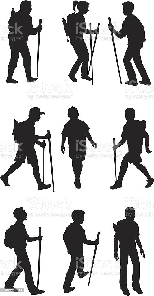 Hikers in action royalty-free stock vector art