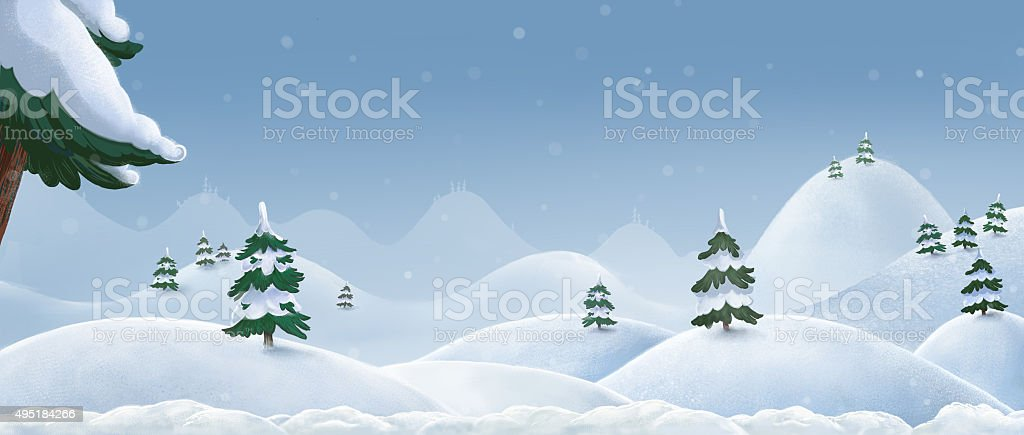 Hills and mountains in the snow. Winter landscape. vector art illustration