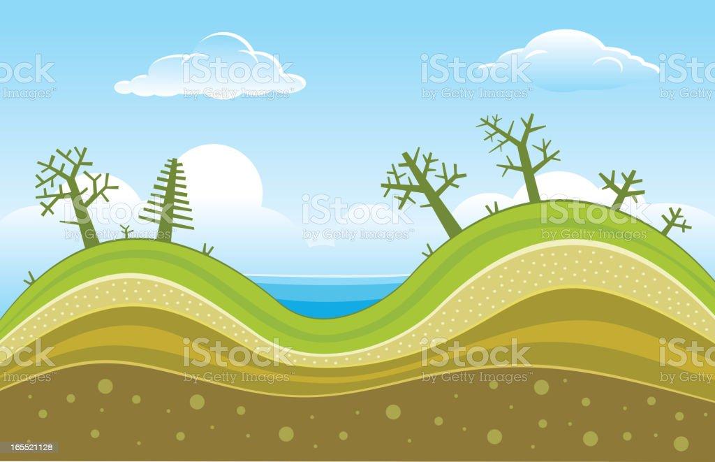 Hills vector art illustration