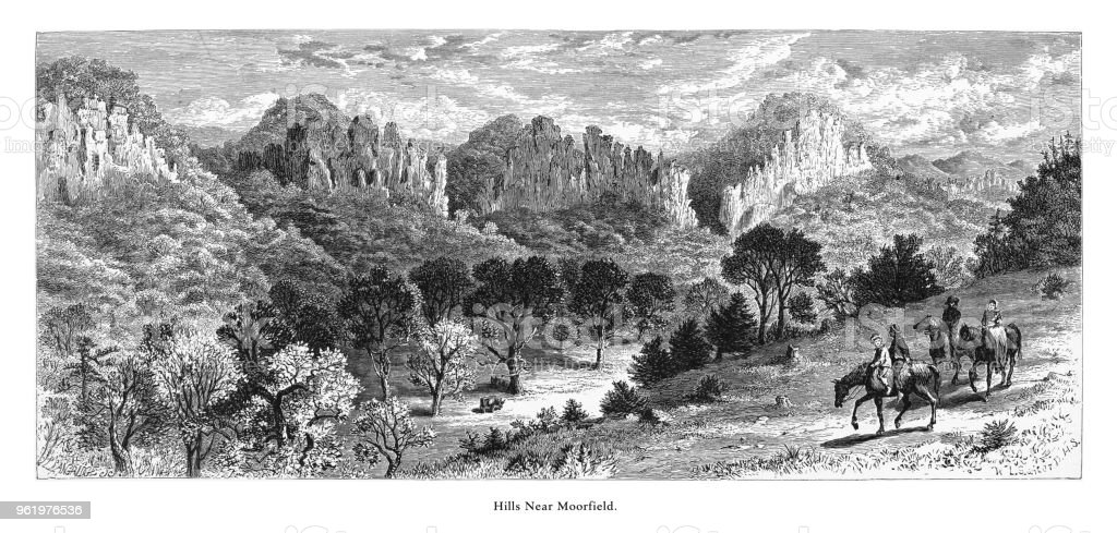 Hills Near Moorfield, West Virginia, United States, American Victorian Engraving, 1872 vector art illustration