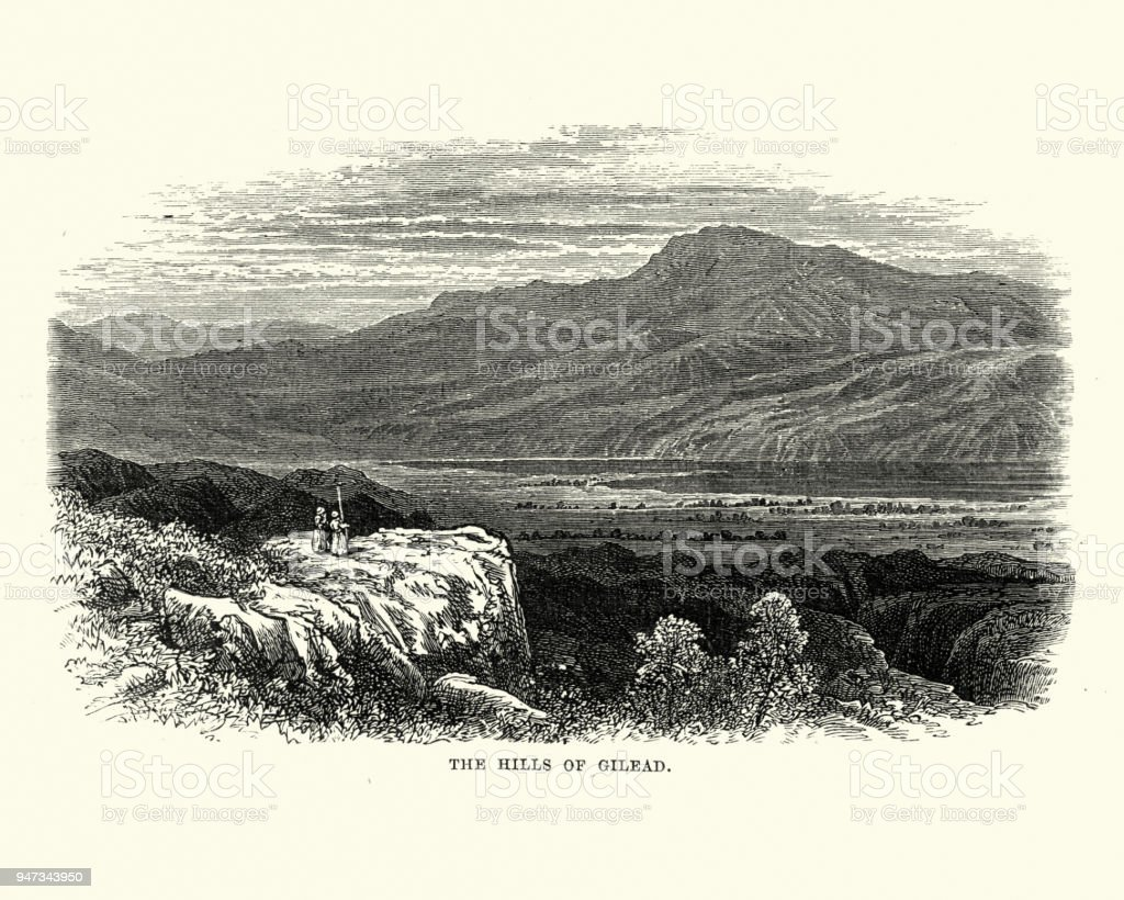 Hills of Gilead or Gilaad, Jordan, 19th Centuy vector art illustration