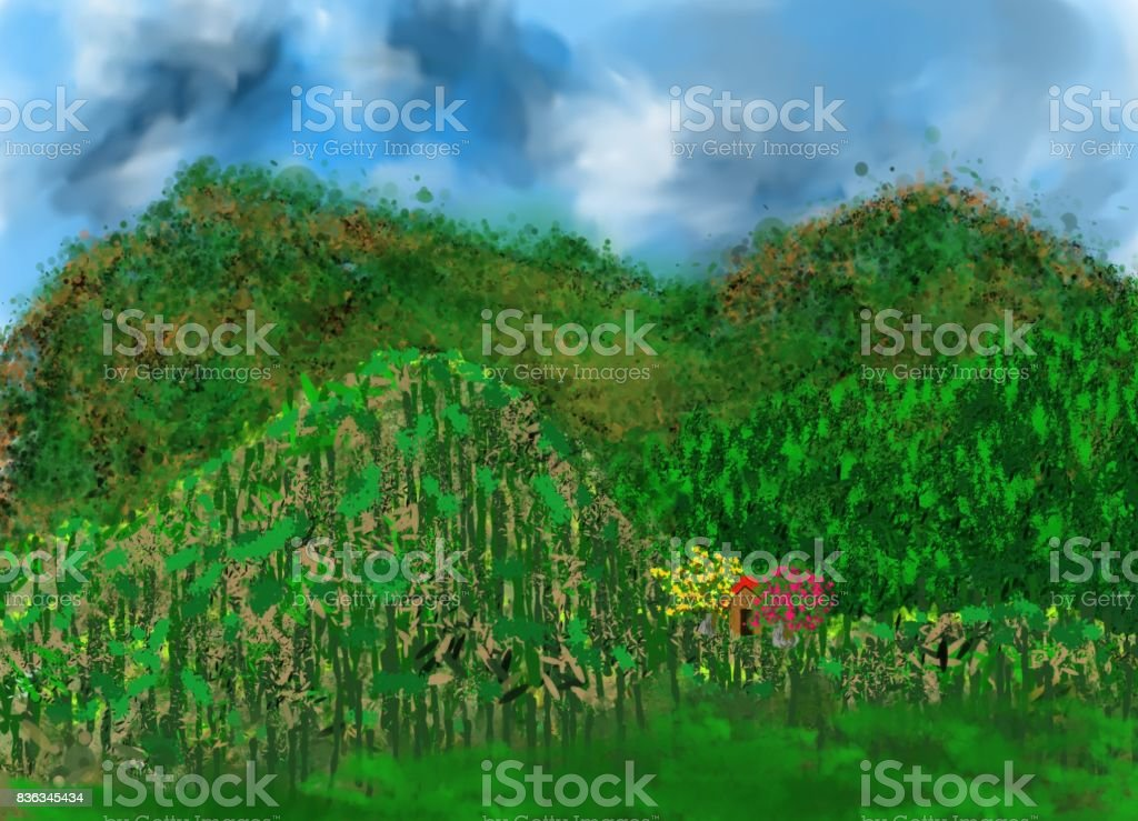 Hills of greenery Natural artistic creation of an imaginary image, representing the beauty of nature, with its variations of relief, climatic clouds, dense plant life and the timid presence of a human habitat. Art stock illustration