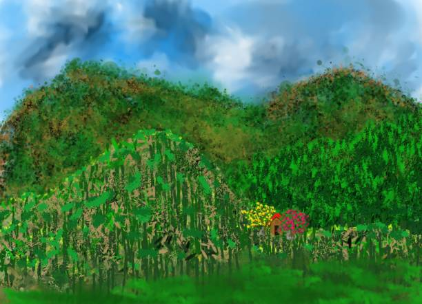 Hills of greenery Natural artistic creation of an imaginary image, representing the beauty of nature, with its variations of relief, climatic clouds, dense plant life and the timid presence of a human habitat. ALOZADE stock illustrations