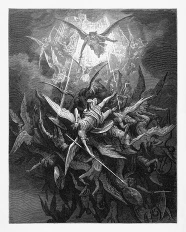 Him the almighty power Victorian Engraving, 1885