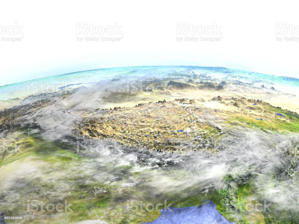 Himalayas on realistic model of Earth vector art illustration