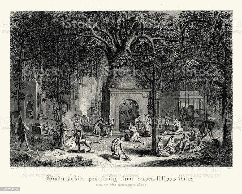 Hindu fakirs practising their rites under the Banyan Tree vector art illustration