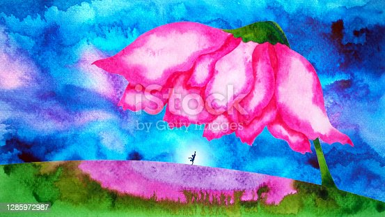 istock hip-hop dancer dancing in abstract landscape rose flower art watercolor painting illustration design drawing mental health mind spiritual concept 1285972987