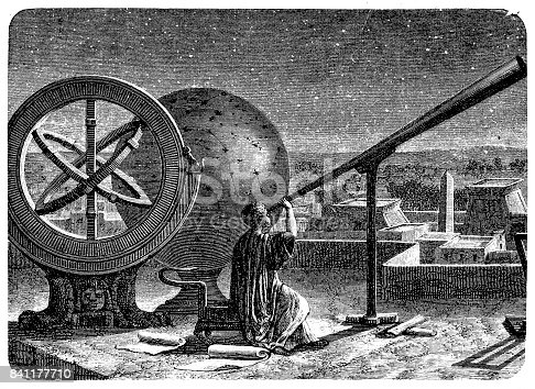 Illustration of a Hipparchus in his observatory in Alexandria