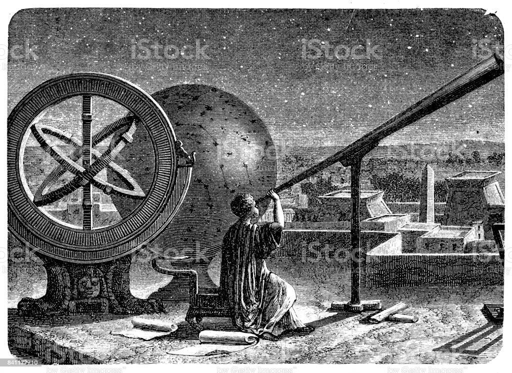 Hiparco em seu Observatório em Alexandria - ilustração de arte em vetor