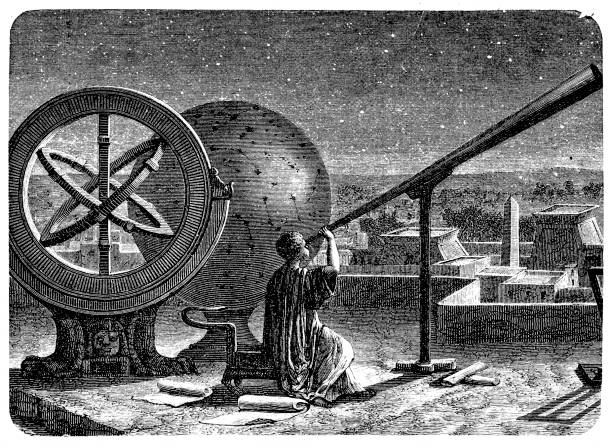 hipparchus in his observatory in alexandria - astronomy telescope stock illustrations